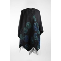 Image for Jimmy Hourihan Fringed Spiral Design Shawl, Black/Turquoise
