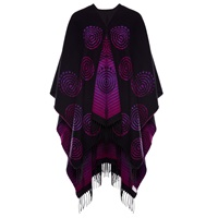 Image for Jimmy Hourihan Fringed Shawl with Celtic Spiral Motif, Black/Fuchsia