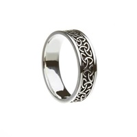 Image for Sterling Silver Oxidized Finish Solid Trinity Knot Band