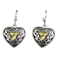 Image for Celtic HeartTrinity Earrings with Gold
