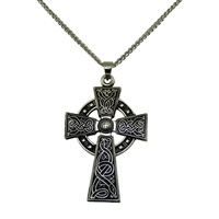 Image for Antiqued Sterling Silver Large Celtic Warrior Cross