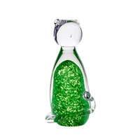 Image for Irish Handmade Glass Irish Shamrock Crystal Cat