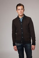 Image for Pure Geelong Lambswool Baseball Collar Cardigan in Peat by Fisherman Out of Ireland
