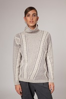 Image for Plated Aran Mock Neck Irish Sweater, Sandstone by Fisherman Out of Ireland