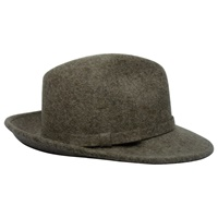 Image for Shevlin Coffee Wool Mix Deep Crown Trilby, Self Trim