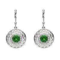 Image for Sterling Silver Swarovski Green/White Celtic Earrings
