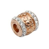 Image for Sterling Silver TD Rose Gold Shamrock Bead Encrusted with Swarovski Crystal