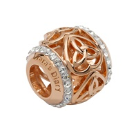 Image for Sterling Silver TD Rose Gold Trinity Heart Bead Encrusted with Swarovski Crystal