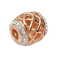 Image for Sterling Silver TD Rose Gold Celtic Bead Encrusted with Swarovski Crystal