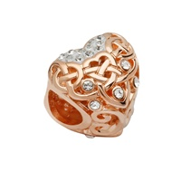 Image for Sterling Silver TD Rose Gold Celtic Heart Bead Encrusted with Swarovski Crystal