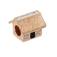 Image for Sterling Silver TD Rose Gold Cottage Bead Encrusted with Swarovski Crystal