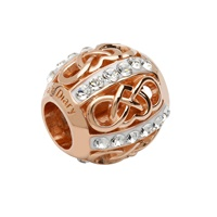 Image for Sterling Silver TD Rose Gold Celtic Heart Bead with Swarovski Crystal