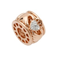Image for Sterling Silver TD Rose Gold Claddagh Bead with Swarovski Crystal