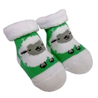 Image for Wooly Sheep Baby Booties, White/Green