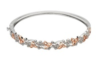 Image for Silver Bangle with CZ Shamrocks and Rose Gold Plated Trinity Knots