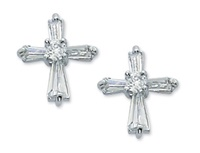 Image for Crystal CZ Cross Earrings