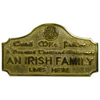 Image for Cead Mile Failte an Irish Family Lives Here Brass Wall Plaque