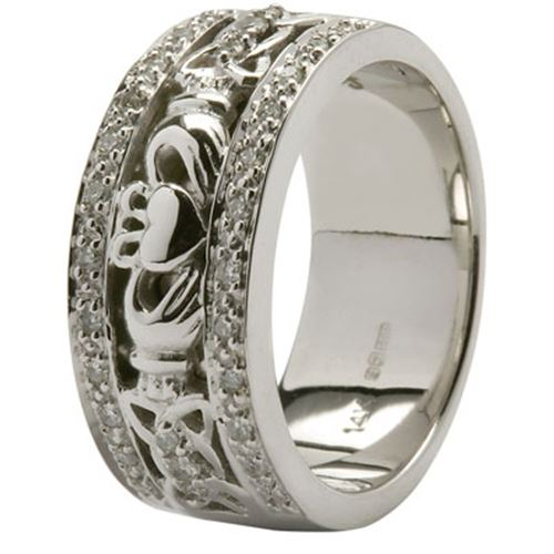 claddagh and celtic knotwork wedding band trimmed with diamonds tipperary irish importer. Black Bedroom Furniture Sets. Home Design Ideas