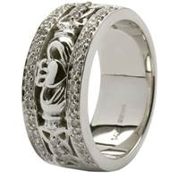 Image for Claddagh and Celtic Knotwork Wedding Band Trimmed with Diamonds