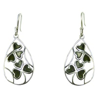 Image for Connemara Marble and Sterling Silver Shamrock Teardrop Earrings