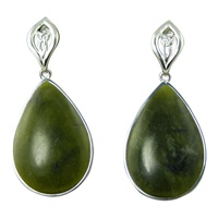 Image for Large Connemara Marble and Sterling Silver Teardrop Earrings
