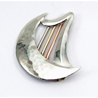 Image for Handcrafted Harp Moon Tri-Color Brooch
