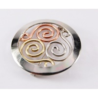 Image for Handcrafted Triscle Tri-Color Brooch