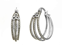 Image for Anu Sterling Silver Marcasite Trinity Knot Hoop Earrings