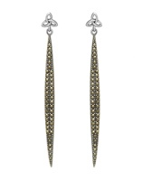 Image for Sterling Silver Trinity and Marcasite Stilletto  Drop Earrings