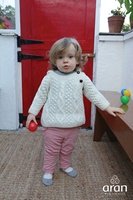 Image for Hand Knitted Side Fastening Baby Hoodie Sweater, Winter White