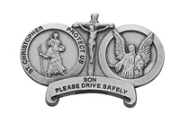 Image for St. Christopher with Guardian Angel Visor Clip-Son