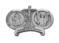 Image for St. Christopher with Guardian Angel Visor Clip-Daughter