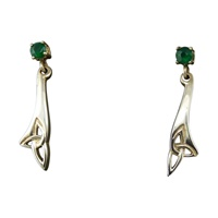 Image for Sterling Silver Contemporary Trinity and Green Agate Earrings