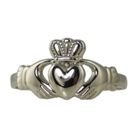 Image for Facet 10K White Gold Ladies Claddagh Ring