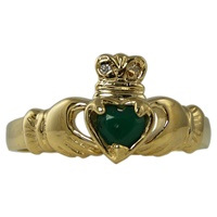 Image for 14K Yellow Gold Agate Claddagh Ring