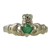 Image for 14k White Gold with Emerald Claddagh Ring