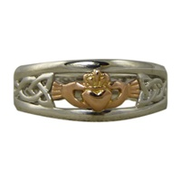 Image for Ladies 14K Two-Tone White and Rose Gold Claddagh Ring