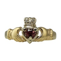 Image for Claddagh Ring with Garnet in Two Tone Gold