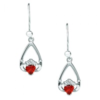 Image for Sterling Silver Birthstone Claddagh Tear Drop Earrings with Cubic Zirconia