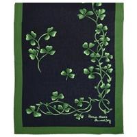 Image for Patrick Francis Shamrock Sprig Silk Scarf, Navy/Green