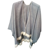 Image for Jimmy Hourihan Pepper and Salt Effect Fringed Shawl, Denim/Cream