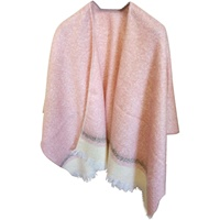Image for Jimmy Hourihan Mohair Fringed Shawl, Pink/Cream