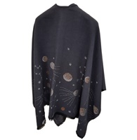 Image for Jimmy Hourihan Stellar Galaxy Motif Fringed Shawl, Charcoal