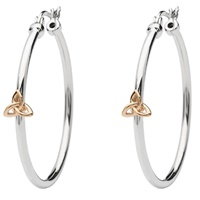 Image for Sterling Silver Hoop Earrings with Rose Gold Plated Trinity Earrings