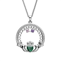 Image for Sterling Silver 2 Stone Family Claddagh Birthstone Pendant