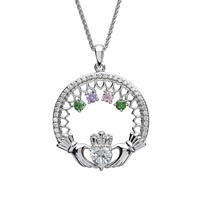 Image for Sterling Silver 4 Stone Family Claddagh Birthstone Pendant