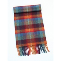 Image for Extra Long Lambswool Scarf -Orange/Teal/Wine/Blue Check