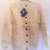 Image for Hand Knitted Irish Cardigan Wool Sweater Size 38