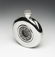 Image for Irish Whiskey Flask with Glass Center, Shamrock