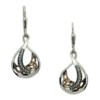 Image for Sterling Silver and 10K Yellow Gold White Sapphire Trinity Teardrop Earrings
